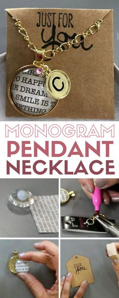Monogram Pendant Necklace   Beautiful DIY Jewelry   Gold   Handmade Gift   Round   Video Tutorial