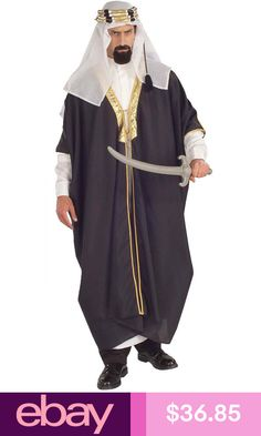 Arab Sheik Adult Costume includes a black robe with gold trim e9747d384