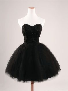Image of Black Ball Gown Sweetheart Short Prom Dresses,Black Prom Dress