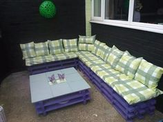 Pallet #Patio #Furniture – #Sofa + Coffee Table - Top 15 DIY Pallet Furniture Ideas | 99 Pallets