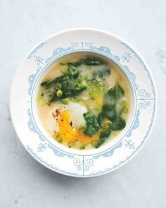 Egg-and-Miso Breakfast Soup. Add mushrooms and ginger to taste.