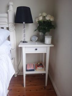 Ikea hemnes white bedside table - getting 2 of these and will put a small cane b. Ikea hemnes white bedside table - getting 2 of these and will put a small cane basket on the bottom shelf for books and magazines, or maybe a fern or other pot plant. Bedroom End Tables, Bedroom Night Stands, Night Stand Decor, Night Stands Ikea, Home Bedroom, Bedroom Decor, Ikea Bedroom, Bedroom Small, Bedroom Ideas