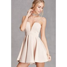 Forever21 Selfie Leslie Sweetheart Dress ($58) ❤ liked on Polyvore featuring dresses, forever21, nude, pink skater skirt, skater skirts, pink fit-and-flare dresses, pink fit and flare dress and flared skirt