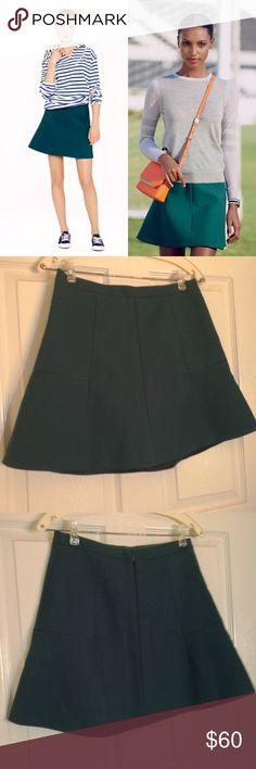"NWT Teal J Crew Fluted Skirt 💙 OFFERS WELCOME This popular J. Crew Fluted Skirt in Double Crepe is SOLD OUT online.  Featuring a flared silhouette with geometric details, this dark teal skirt is great for both work and play.  Runs large. Outside: 75% Polyester 20% Viscose 5% Spandex. Lining: 100% Polyester. L: 17"" W: 28.5"" 💙 OFFERS WELCOME J. Crew Skirts"
