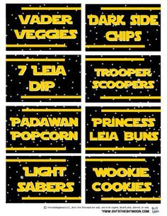 May the Be with You Star Wars Food Free Printables - Printable Star Wars - Ideas of Printable Star Wars - Star Wars food ideas! 25 cool ideas like: 'Wookie Cookies and 7 Leia Dip Plus they have free printable tags for all of them! Star Wars Baby, Bd Star Wars, Tema Star Wars, Star Wars Food, Star Wars Themed Food, Star Wars Party Food Snacks, Printable Star Wars, Printable Tags, Bolo Laura