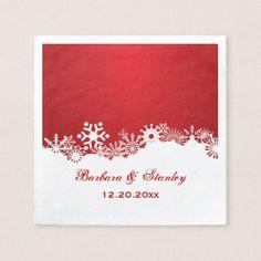 Modern Snowflake red white winter wedding Napkin