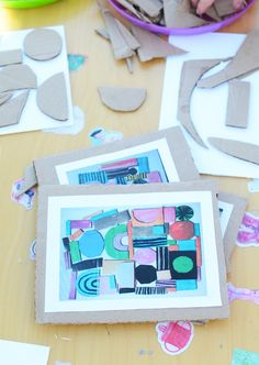 Recycled Art - Easy Art Projects for Kids More art for kids Recycled Shape Art - Easy Art Projects for Kids - Meri Cherry Recycled Art Projects, Easy Art Projects, Projects For Kids, Art Education Projects, Shape Collage, Shape Art, Kindergarten Art, Preschool Art, Art Doodle
