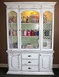 thinking I want to make my china cabinet into a craft storage…..Making It Too Perfect: Day 26 - Clutter Free Craft Storage - Bethany's China Cabinet Repurposed