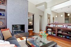 Living double sided fireplace Design Ideas, Pictures, Remodel and Decor
