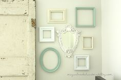 Gallery Wall of Frames.  Thrifty way to add art to walls. Empty frames!