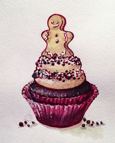 Watercolor Christmas cupcake!!