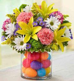 décoration de Pâques avec composition florale