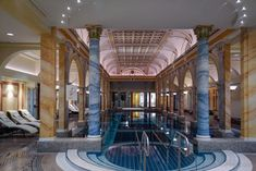 Blessed with a natural thermal bath the Grand Resort Bad Ragaz is the perfect place for splashing around in for a weekend! Bad Ragaz, Wellness Resort, Best Spa, Restaurant, Perfect Place, Mansions, House Styles, Resorts, Places