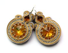silver grey and yellow   soutache earrings by KimimilaArt