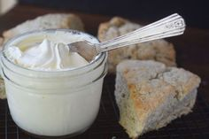 Homemade Clotted Cream TVFGI-----very easy.  Just in a dish in oven on lowest heat.  Then next day in fridge all day.  Jar it up that evening and the next day it's thick, spreadable cream.  Must try this with homemade scones! YUM