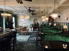 The Esplanade Hotel in St Kilda, Melbourne. #stkilda #espy #visitmelbourne #bottlegreen #greeninterior #distressedmural #relaxeddining #botanicalmural #botanicalinterior #juassicdecor #indoormural #interiormural #botanicaldecor #riparian #primordialchic #wildinterior #naturalmural #rusticcontemporary #muraldetail #palmtreemural #palms #velvetlounges #velvetbooth #emeraldgreen #espyhotel Botanical Interior, Botanical Decor, Visit Melbourne, St Kilda, Rustic Contemporary, Surf Art, Surfing, Lounge, Palms