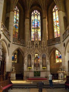 Altar in Castle Church (properly, Church of All Saints) in Wittenberg, Germany, where Martin Luther is buried.: