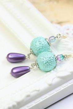 Blue Pearl Earrings Drops, Glass Pearl Dangles, Sky Blue Earrings, Gift for Her, Purple Earrings, Blue Pearl Drops, Earrings under 20 by TrinketHouse on Etsy