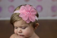 Pink Flower Headband Pink Baby Bow Pink Baby by LittleMissBlingNYC