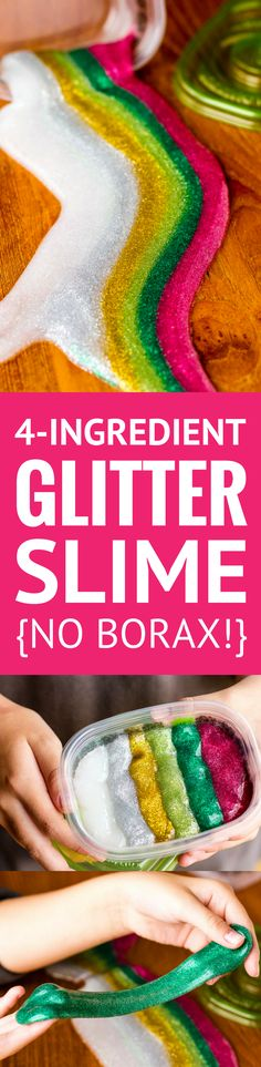 Glitter Slime Recipe -- whether you make rainbow glitter slime or your own custom homemade glitter slime, this simple 4-ingredient recipe (NO BORAX!) is sure to provide hours of fun from start to finish... Fab DIY gift idea!   DIY glitter slime   how to make glitter slime   clear glitter slime   easy glitter slime   glitter slime without borax   find the tutorial on unsophisticook.com