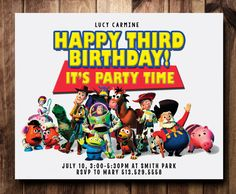 Toy Story Birthday Party Invitation Card by CelebrationCity, $10.00 Toy Story Birthday, Third Birthday, Celebration City, Birthday Party Invitations, Birthday Parties, Invitation Cards, Holiday Cards, Party Time, Third Anniversary