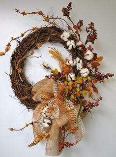 Primitive Cotton Boll Wreath Raw Cotton Bolls by FloralsFromHome Wreath Crafts, Diy Wreath, Grapevine Wreath, Burlap Wreath, Greenery Wreath, Door Wreaths, Autumn Wreaths, Holiday Wreaths, Wreath Fall