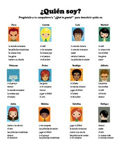 """Get your students speaking Spanish and using the verb gustar with this fun activity. The activity is similar to the game """"Guess Who"""" as students try to guess who their partner """"is"""" by asking what he/she likes or dislikes. This activity also reviews objects and verbs and can also be used to review ser and adjectives."""