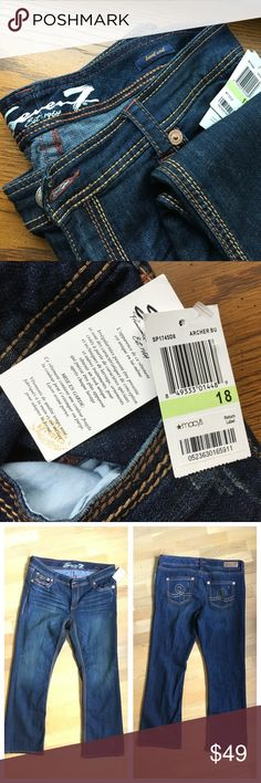 """NWT Seven7 Size 18 distressed bootcut jeans! NWT Seven7 Size 18 distressed bootcut jeans! Zipper fly. Button closure. Manufacturer distressing throughout (see collage and bottom hem photo above). Side and back pockets. Approximate flat measurements: waist/belt line 19.5"""", hips 22"""", length 31"""". I don't trade. Reasonable offers welcome. Thanks! 😊 Seven7 Jeans Boot Cut"""