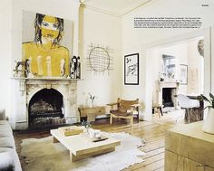 Luella Potter / Mark Tuckey via Inside Out {eclectic white rustic vintage living room}