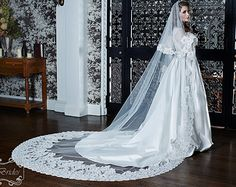 Wedding Veil - Drop Veil - Cathedral Drop Two-Tier Spanish Mantilla with Ultra Wide Vintage Beaded French Alencon Lace