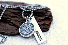 This is a simply designed personalized necklace, great for any Marine to wear. It is also perfect for a loved one to wear to show pride for their Marine. You can add your Marines name to the pendant that is paired with the St. Christopher EGA medallion! We carefully hand selected Usmc, Marines, Branch Of Service, Little Bit Of Love, Marine Mom, Personalized Necklace, Stainless Steel Chain, Metal Stamping, Hand Stamped