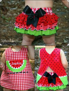 I love this watermelon outfit Cute Outfits For Kids, Toddler Outfits, Cute Kids, Cute Babies, Baby Kids, Little Girl Dresses, Girls Dresses, Watermelon Outfit, Watermelon Birthday Parties