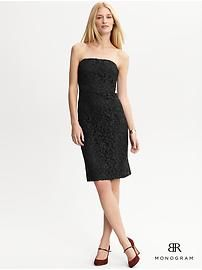 BR Monogram strapless lace dress