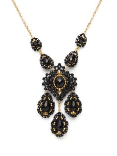 Black & Gold Bead Multi-Drop Pendant Necklace by Miguel Ases on Gilt.com