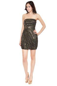Dazzling Sequin Black Silk Strapless Party Evening Cocktail Dress