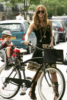 Moms who ride their kids to school rule.Mom Chic. Mom cool. Great style for mom's