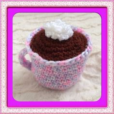 Crochet cup of hot chocolate with whipped cream - play food