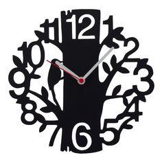 Relógio Parede Passarinho na Árvore Preto - Col. Exclusiva
