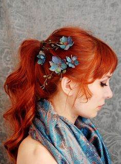 Flowers and red hair