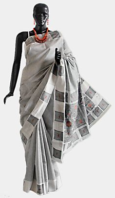 Weaved Black and White Saree with Border and Anchal (Silk Cotton))