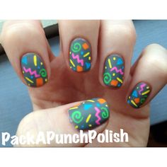 Fiesta/party, 90s and 80s pattern, nail art