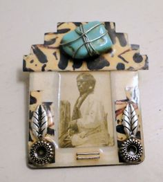 Native American Brooch Turquoise Male Native by flashbackintime, $47.52