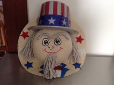 Uncle Sam straw hat wreath made from materials from Dollar Tree