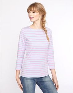 Our new collection of tops is second to none. We've used this season's prints to create new twists on old favourites and fresh styles alike. Kinds Of Clothes, Clothes For Women, Long Sleeve Tops, Long Sleeve Shirts, Joules Uk, Striped Jersey, Pink Stripes, Tunic Tops, T Shirts For Women