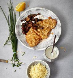 Mandelschnitzel mit Champignons
