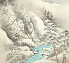Arts of Koukei Kojima - tuantruong Japanese Painting, Chinese Painting, Chinese Art, Golden Tree, Snow Art, Japanese Landscape, Art Japonais, Japanese Artists, Asian Art
