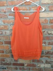 $12.95 Women's Old Navy Orange 2 Piece Ruffle Bottom Tank Top Shirt Size: Large Free Shipping