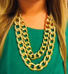 shiny gold chain necklace   etsy: lollysheep