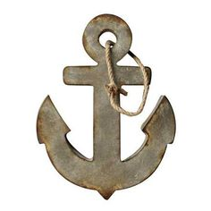 "Waterside Wall Decor 18""L x 24""H Metal Anchor w/ Rope Hanger, Aged Zinc Color"