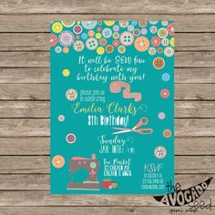 Adorable Sewing Birthday (or any event) Invitation - DIY Printing or Professional Prints